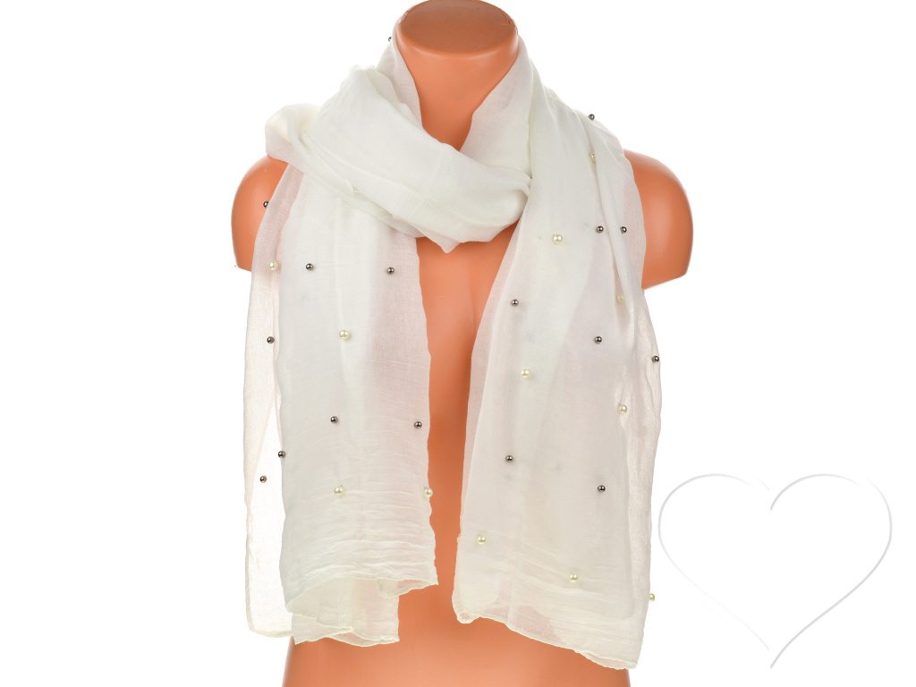 Női egyszínű pamut sál gyöngyökkel - fehér  f137553f7b