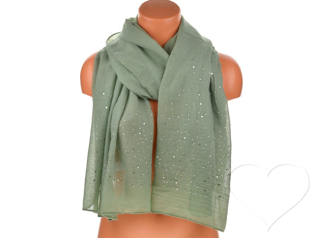 Női egyszínű pamut sál kövekkel - khaki  58264dcfc2
