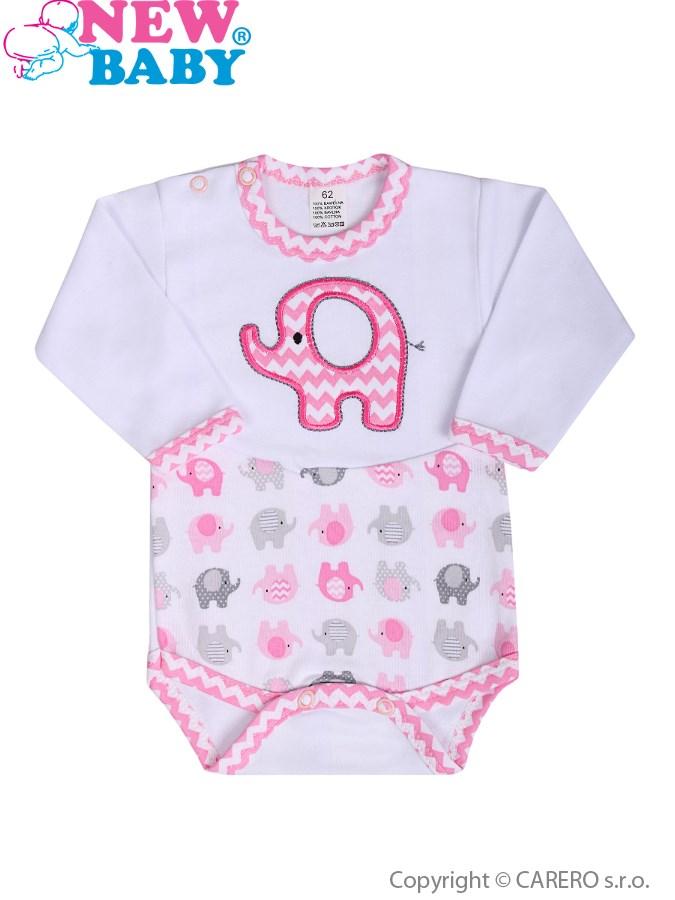Csecsemő hosszú ujjú body New Baby Elefánt fehér - rózsaszín ... 77011296b9